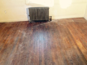 Dirty wood floor for stain job in Waltham, MA